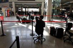 机场搁浅的乘客045 库存图片