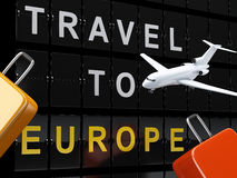 机场板、旅行手提箱和飞机 旅行向欧洲c 免版税库存图片