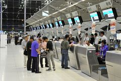 机场检查计数器 图库摄影