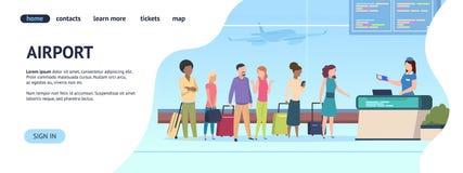 机场登陆的页 客运枢纽站队列离开到来门,航空公司检查上 线上注册 皇族释放例证