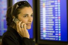机场移动电话妇女 免版税库存图片