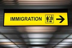 机场移民和风俗标志 免版税库存照片