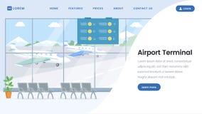 机场终端登陆的页传染媒介模板 皇族释放例证