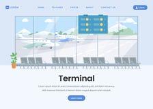 机场终端登陆的页平的模板 向量例证