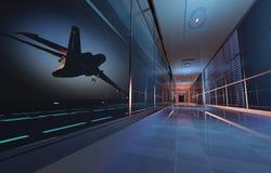 机场背景飞机空间等待的视窗妇女 图库摄影