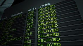 机场董事会被延迟的飞行信息 免版税库存照片