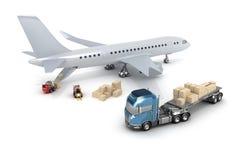 机场: 铲车装载飞机 皇族释放例证
