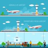 机场水平的横幅 库存照片