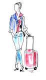 机场水彩的妇女 免版税库存照片