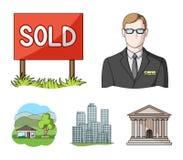 机构的雇员,被卖,大都会,乡间别墅 在动画片样式的地产商集合汇集象导航标志 库存图片
