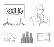 机构的雇员,被卖,大都会,乡间别墅 在概述样式的地产商集合汇集象导航标志 免版税库存照片