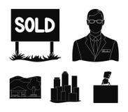 机构的雇员,被卖,大都会,乡间别墅 在黑样式的地产商集合汇集象导航标志股票 库存照片