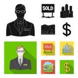 机构的雇员,被卖,大都会,乡间别墅 在黑,平的样式传染媒介标志的地产商集合汇集象 库存图片