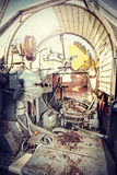 机枪驾驶舱的减速火箭的被过滤的图片 库存图片