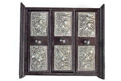 机柜查出的小空白木 免版税库存照片