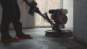 机械化的水泥冗长的句子具体地板特写镜头慢动作 股票录像
