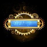 机械蓝色横幅 库存图片