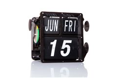 机械被隔绝的日历减速火箭的日期 免版税库存照片
