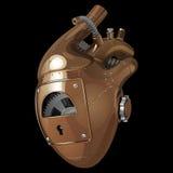 机械装饰人的心脏由黄色和白合金制成,与齿轮和铆钉 库存图片
