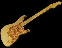机械金黄的吉他 免版税库存照片