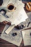 机械零件设计师书桌  库存照片