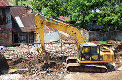 机械巴色的楼房建筑站点在占巴塞省,老挝 库存图片
