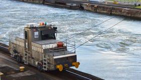 机车细节在巴拿马运河的 免版税库存照片