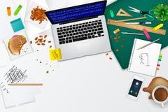 杂乱办公室和工作空间产品大模型模板布局 向量例证
