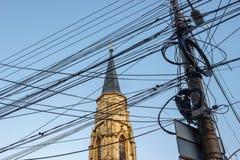 杂乱电缆在科鲁Napoca,罗马尼亚 免版税库存照片