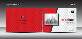 杂志的,广告,介绍,年终报告,书,传单,海报红色盖子设计模板 向量例证