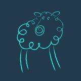杂文样式蓝色绵羊 免版税库存图片