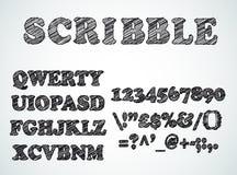 杂文毗邻了与笔剪影作用的字母表 免版税库存照片