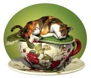 杂色猫杯子n休眠 库存照片