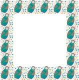 杂色的平的筑巢玩偶、抽象分支、叶子、分支和圈子方形的框架在白色背景 库存例证