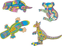 杂色的考拉、platypus和袋鼠 库存照片