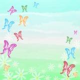 杂色的蝴蝶和白花春天背景 免版税库存图片