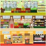 杂货店或超级市场内部传染媒介平的海报集合 向量例证