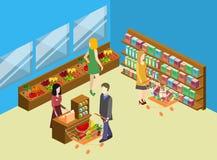 杂货店等量内部  商城平的3d例证 免版税图库摄影