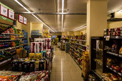 杂货店内部 免版税库存照片