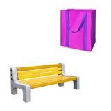杂货的可再用的桃红色购物袋,黄色 库存照片