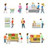 杂货超级市场商店,顾客,买家,菜,果子 皇族释放例证