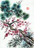 杉木分支开花的李子和竹子 向量例证