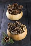 杉木和冷杉球果在木碗反对黑暗的背景 免版税库存照片