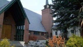 杉木大道的StAndrews教会在足迹B C 免版税图库摄影