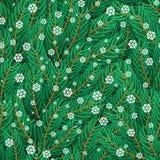 杉木枝杈和雪花无缝的样式 免版税库存照片