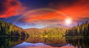 杉木森林和湖在及早山附近在日落 免版税库存照片