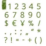 杉木针数字和标记 免版税库存照片