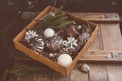 杉木锥体和圣诞树在箱子戏弄 免版税库存照片