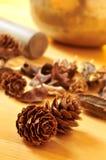 杉木锥体和干花和西藏唱歌碗 免版税库存照片