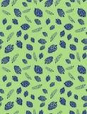 杉木锥体和杉木分支在一个绿色背景无缝的传染媒介样式 库存照片